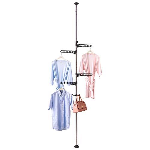 Hershii Percha ajustable para colgar ropa de suelo a techo, barra de tensión, organizador de almacenamiento para interior, balcón, color gris