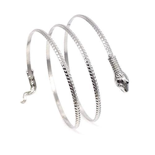 SeniorMar-UK Pulsera de Serpiente, joyería Europea y Americana, Pulsera de Serpiente con Personalidad, Pulsera de Serpiente de Metal para Mujer, Plata