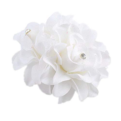 AKOAK New Beauty Womens Bridal Wedding Rhinestone Orchid Hair Clip Barrette Bridal Wedding Party Women Accessories (1Pcs,White)