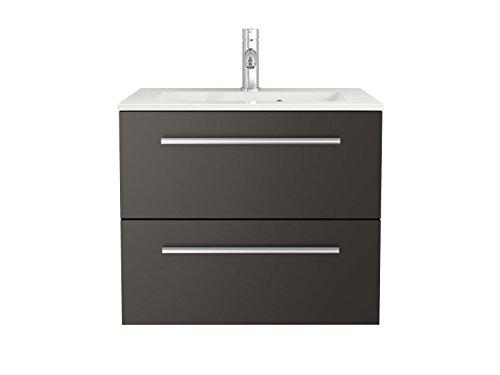 Waschtischunterschrank mit Waschbecken Libato 60 90 120 cm - weiß anthrazit Eiche grau Hochglanz - Badmöbel Badezimmermöbel Unterschrank hängend [Sieper Qualität aus Deutschland] (60, anthrazit)