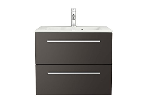 Waschtischunterschrank Waschbecken-Unterschrank weiß Hochglanz - Badmöbel Badezimmermöbel hängend Sieper Libato (60, anthrazit)