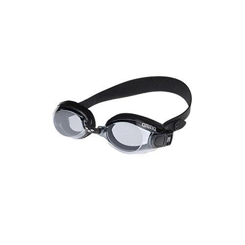 arena Unisex Training Freizeit Schwimmbrille Zoom Neopren (UV-Schutz, Anti-Fog Beschichtung, Für Allergiker), schwarz (Black-Clear-Black), One Size