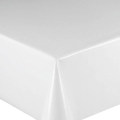 Wachstuch UNI Weiss Glatt · Eckig 140x180 cm · Länge & Farbe wählbar LFGB · abwaschbare Tischdecke Gartentischdecke Einfarbig