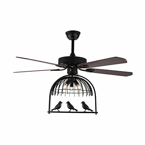 Ventilador de techo de 52 pulgadas, luz de 3 velocidades, 5 hojas de madera, lámpara con mando a distancia, estilo retro, para comedor, dormitorio, salón