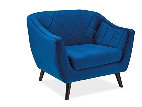 Luenra - Poltrona confortevole in velluto, 105 x 85 x 83 cm, colore blu navy, gambe in legno