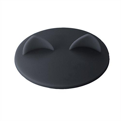 PPuujia Taza de café creativa de silicona de grado alimenticio, diseño de orejas de gato, tapa de cristal, tapa de tapa de agua, resistente al calor, herramienta a prueba de fugas (color gris)