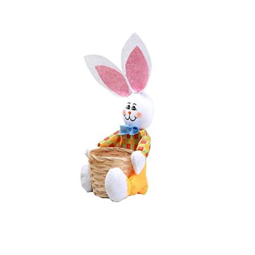 Cesta de Pascua de conejito, cesta de almacenamiento de dulces de conejo de dibujos animados, cesta de almacenamiento de alimentos portátil, adornos de decoración de Pascua para decoración casa