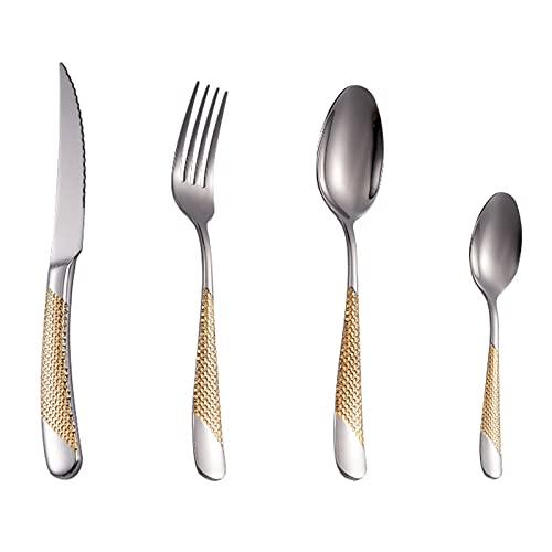 RRXH Kit De Cubiertos,Cubiertos De Cocina Plata,Tenedor Cuchara,Tenedores Acero Inoxidable,Vajilla Acero Inoxidable,Juego Cubiertos 4 Piezas