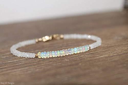 LOVEKUSH Beautiful AAA++ Quality Ethiopian Opal and Moonstone Bracelet, Welo Opal, October Birthstone, Moonstone Jewelry, Gemstone Jewelry, Gold or Silver 3mm