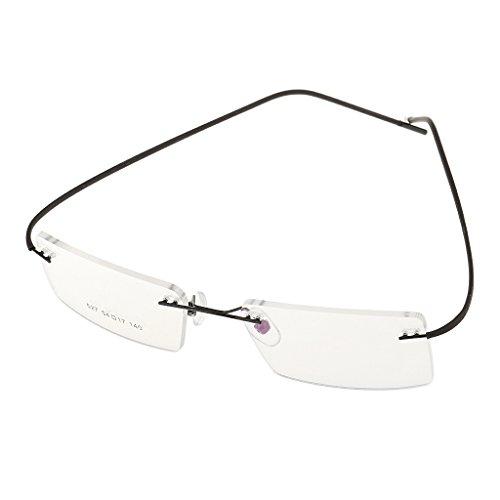 dailymall Brillenbügel Brillengestell Randlos Metall Brillenfassung Lesebrille Ersatzbügel - Schwarz, Einheitsgröße