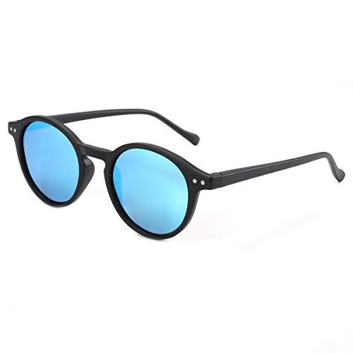 ZENOTTIC Gafas de sol Polarizadas Redondo Retrospectivo Cl¨¢sico Retrospectivo Lentes de sol Marco UV400 Para hombres y mujeres ¡ (NEGRO + AZUL Espejo)