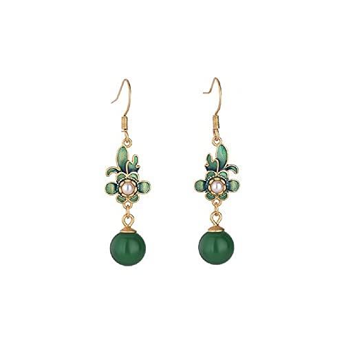 GGSDDU Flor con incrustaciones de perlas gota cuelgan pendientes,Imitación Jade Cloisonne pendientes largos para mujer,Pendientes de calcedonia verde