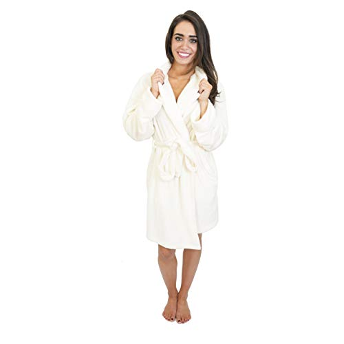 Cherokee Women's Plush Robe, Egret, Medium