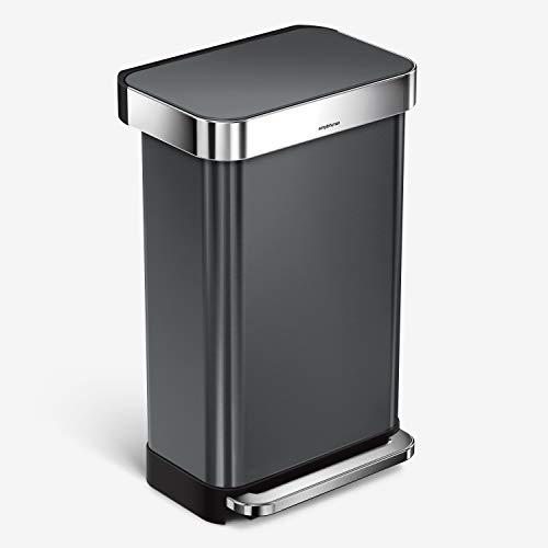 simplehuman 45 Liter Rectangular Hands-Free Kitchen Step Rubbish Bin with Soft-Close Lid, Black Stainless Steel