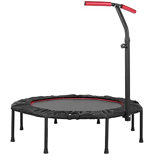 Trampolin Indoor Ø127cm, Fitness Trampolin Faltbar mit 5-Fach Höhenverstellbarer Haltegriff, JumpingFitnessTrampolinbis150kg, TrampolinfürErwachseneundKinder