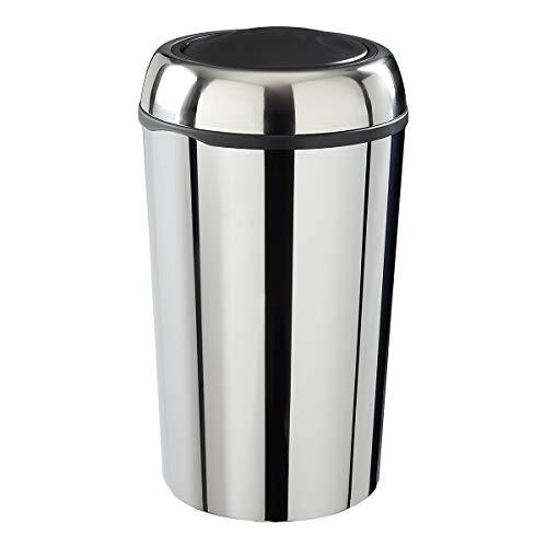 Poubelle Swingy ronde couvercle basculant inox 50 litres