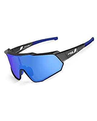 CoolChange Polarized Cycling Sunglasses Full Screen TR90 Unbreakable Lightweight Sports Glasses for Men Women (Blue Polarized)