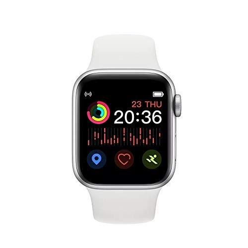 Reloj Inteligente T900 para Mujeres/Hombres con Monitor de Ritmo y frecuencia Cardiaca, de la presión Arterial. Resistente al Agua. (Blanco)