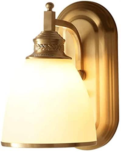 Lámpara De Pared Lámpara De Pared De Un Solo Cabezal De Latón Americano Pantalla De Vidrio Esmerilado Lámpara De Cabecera Del Dormitorio Sala De Estar Aplique De Pared Pasillo Del Hotel