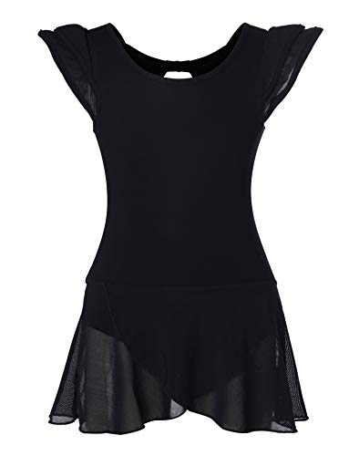 Girls' Ballet Dance Leotards with Flutter Sleeve Petal Skirt and Bowknot Back(6-8years,Black)