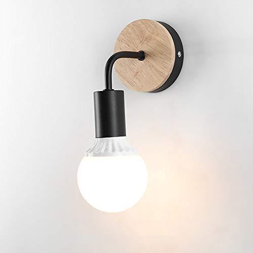 STOEX Apliques Moderno Nórdico Diseño forma 7 Lámpara de Pared Redonda Simple Base de Madera Exquisito Iluminacion de Loft Oficina Dormitorio Cocina Pasillo Cama Nocturna (Negro)