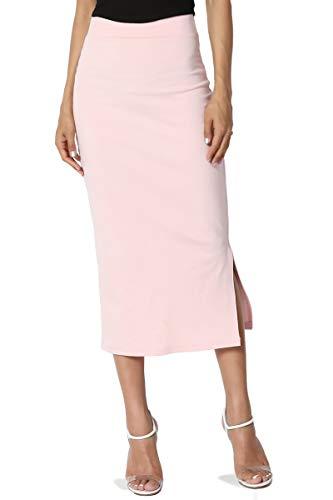 TheMogan Women's Side Slit Ponte Knit High Waist Mid-Calf Pencil Skirt Light Pink S