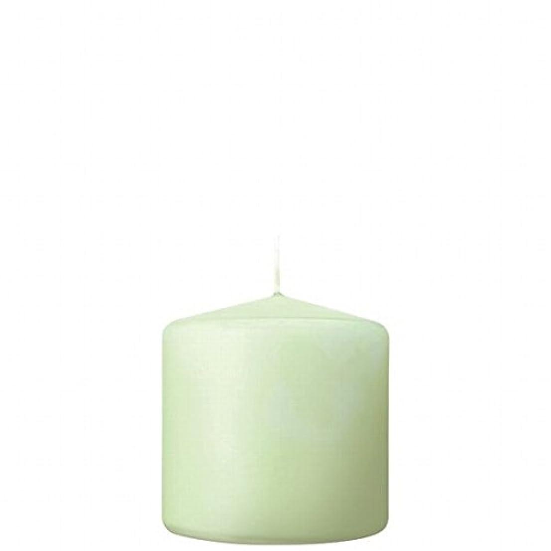 畝間受益者心理学カメヤマキャンドル( kameyama candle ) 3×3ベルトップピラーキャンドル 「 ホワイトグリーン 」