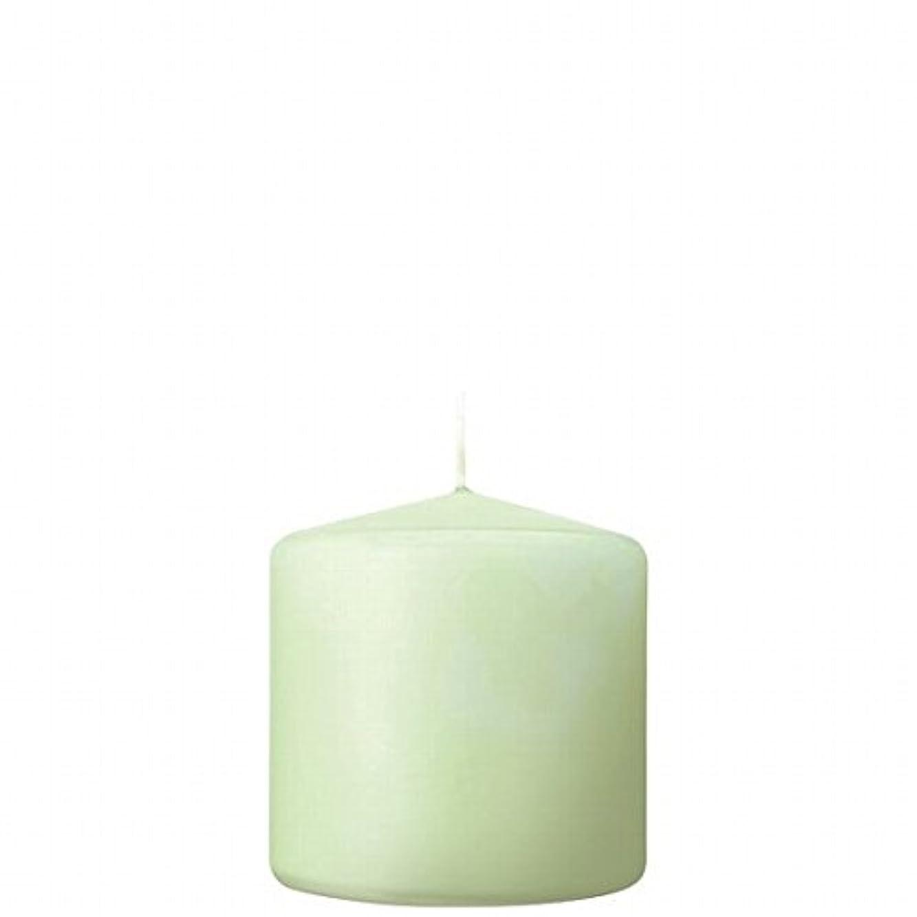 健康非武装化酸化するカメヤマキャンドル( kameyama candle ) 3×3ベルトップピラーキャンドル 「 ホワイトグリーン 」