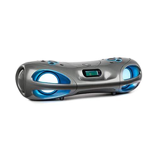 auna Spacewoofer Altavoces con Reproductor de CD - Altavoz portátil para música , 40 W , Radio FM , Bluetooth , USB , Entrada AUX , Efectos LED , con batería o con Cable , Mando a Distancia , Gris