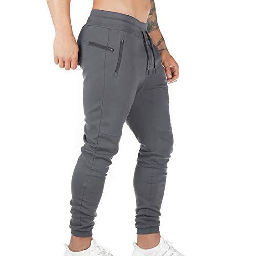 Litthing Pantalones Deportivos Hombre Pantalones Jogger Deportivo Entrenamiento Fitness Pantalones Casual Deporte Slim Fit Cintura Elástica Ajustable (Gris, XL)