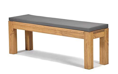Sitzbank Rio Bonito 140x38cm + Bankauflage anthrazit, Holzbank Massivholz Pinie, geölt und gewachst, Farbton Honig hell, Optional: passende Tische