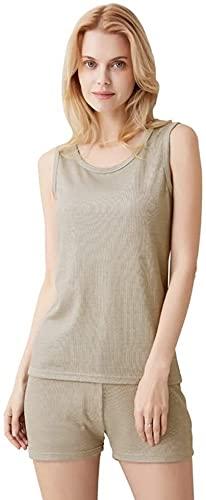JIANMUDAN Protección de radiación electromagnética Ropa Interior Femenina 100% Fibra de Plata Conjunto de Ropa Interior con Doble protección, Pantalones AN407 (Color : Vest, Size : Large)