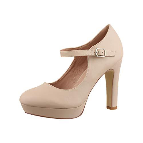 Elara Damen High Heels Pumps Riemchen Vintage Chunkyrayan ZZ22320 Beige-41