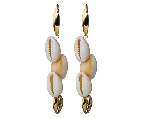Gemshine Maritim Nautics Ohrringe Kauri Muschel Ohrhänger in 925 Silber hochwertig vergoldet. Made in Spain. Im eleganten Schmucketui mit Geschenkverpackung