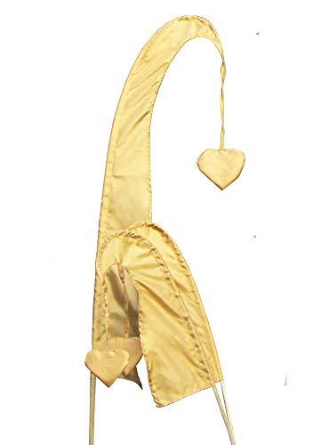 DEKOVALENZ - Balifahne Little SANUR mit Holzstange, mit herzförmiger Spitze, versch. Farben+Längen, Fahnenlänge:120 cm, Farbe:Gold