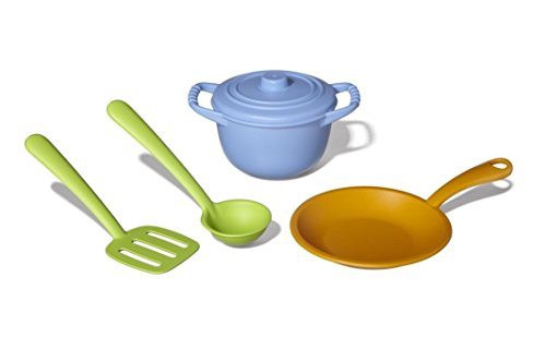 Green Toys Chef Set Spatula Ladle Fry Pan and Pot