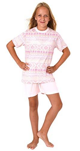 Cooler Mädchen Shorty Pyjama Schlafanzug Kurzarm in tollem Ethno-Look - 63857, Größe:152, Farbe:rosa
