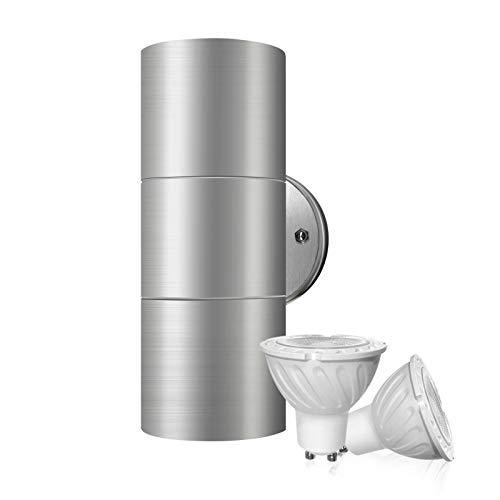 DoRight LED Lampada da Parete Su Giù Illuminazione Esterna Acciaio inossidabile IP65 per Esterno Interno, Giardino, Portico, Bagno, Corridoio(Lampadina LED 2X 5W GU10 Bianco caldo 3000K inclusa)