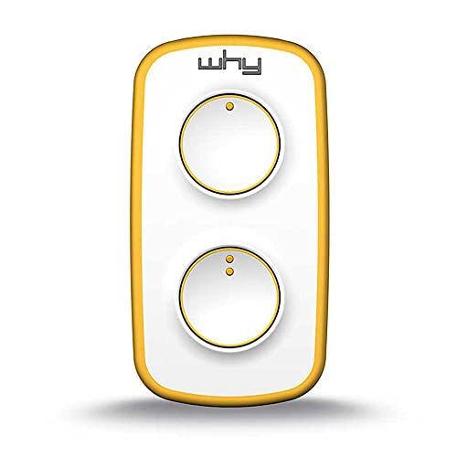 WHY EVO mini telecomando cancello universale rolling code pure yellow bianco/giallo, radiocomando multifrequenza apricancello 4 tasti 4791035