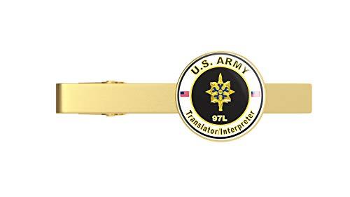 HOF Trading Gold U.S. Army MOS 97L Translator/Interpreter Gold Tie Clip Tie Bar Veteran Gift