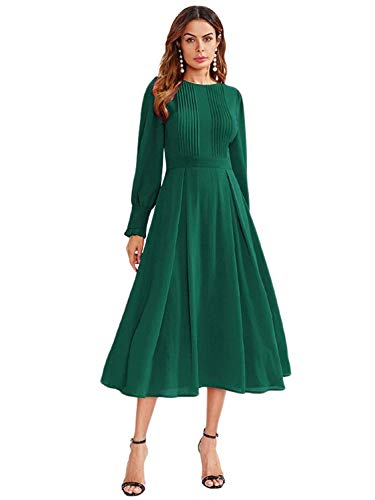 Milumia Women's Elegant Frilled Long Sleeve Pleated Fit and Flare Dress Dark Green Small