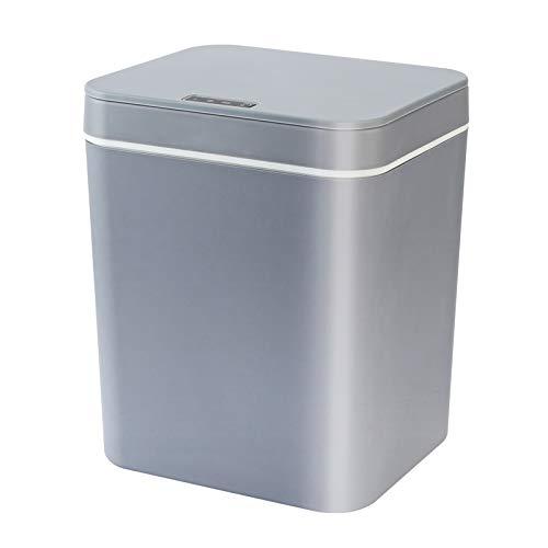 HshDUti Cubo de basura automático de 14 litros con sensor de infrarrojos, gran capacidad, inductivo, recargable, funciona con pilas, color gris
