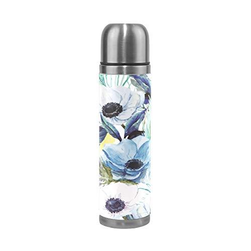 Sawhonn Pauwverende bloem drinkfles roestvrij staal thermoskan waterfles thermosfles dubbelwandig geïsoleerde fles vacuüm voor 500 ml sport koffie thee