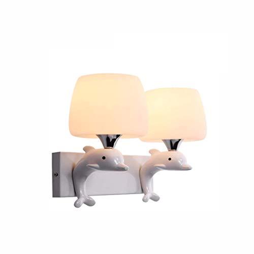 SPNEC Lámpara de Pared Moderna Dolphin lámpara de Pared de Resina de Dormitorio, Sala de Estar, baño, lámpara de cabecera