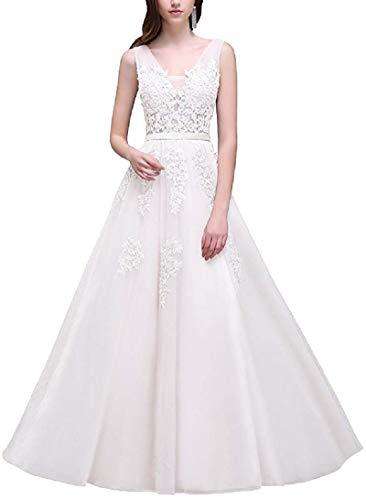 Romantic-Fashion Damen Ballkleid Abendkleid Brautkleid Lang Modell E001-E006 Blütenapplikationen Tüll DE Weiß Größe 40