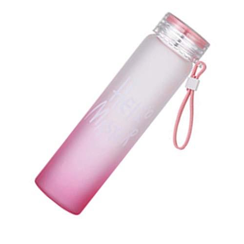 rongweiwang Bunte 400ml Gradient Mattglas-Wasserflasche Paar Stil Flasche Frische Studenten Tote-Wasser-Schale Letters Pattern