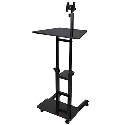 Stehpult Laptop Mobiler Tisch Überbetttisch Stand Up Schreibtischständer PC Notebook Cart Tray Kompakte Höhe Verstellbare Workstation Computer Stehpult Bett Sofa Side End mit Rädern(Dunkle Walnuss)