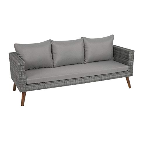 greemotion Gomera Lounge-Sofa für 3 Personen, anthrazit/braun, ca. 185 x 64 x 75 cm
