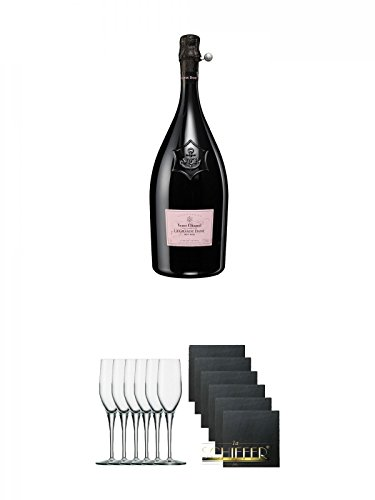 Veuve Clicquot La Grande Dame Rose Champagner in GP 0,75 Liter + Stölzle Exquisit Sektkelch 6er Pack + Schiefer Glasuntersetzer eckig 6 x ca. 9,5 cm Durchmesser