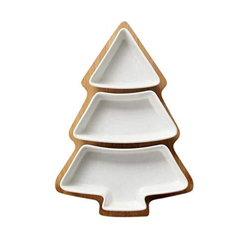 ECSWP KDSGP Árbol de Navidad Plato de cerámica Plato extraíble Plato Platos Galletas Placas de Vacaciones Postre de Vacaciones Tenedor con Soporte de Base de bambú (Color : A)